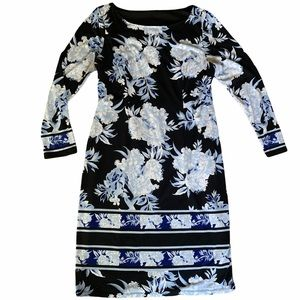 Long sleeve black dress with blue floral midi